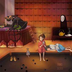 Spirited Away / Sen to Chihiro no Kamikakushi Studio Ghibli Art, Studio Ghibli Movies, Hayao Miyazaki, Chihiro Y Haku, Studio Ghibli Spirited Away, Anime Manga, Anime Art, Castle In The Sky, Girls Anime