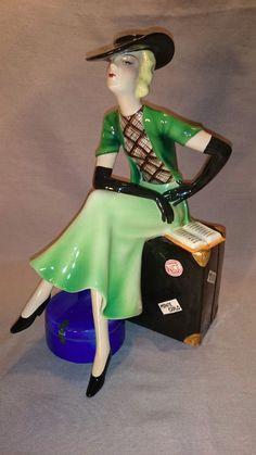 Exceedingly RARE Art Deco Goldscheider Wien DAKON Female Sitting on Hat Box RARE