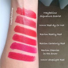 Red lipsticks! Maybelline Signature Scarlet, Wet n Wild Red-dy or Not, Revlon Really Red, Revlon Certainly Red, Revlon Cherries in the Snow, Wet n Wild Stoplight Red. Like what you see? Follow my instagram @mellyfmakeup for more!