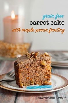 This paleo Carrot Cake has all the flavour of a traditional carrot cake, but it's grain-free, dairy-free and refined sugar-free too! It is filled with flavourful carrots, pineapple and golden raisins which keep it moist and tender. #paleo #glutenfree #dairyfree #carrotcake #Easter #dessert