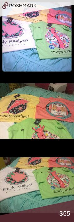 NWT Simply Southern Large-4 shirts 4 shirts, may or may not have tags attached so either new with tags or new without tags. Simply Southern Tops Tees - Short Sleeve