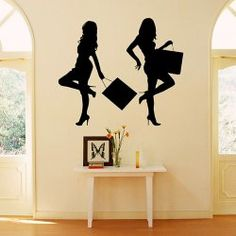 $12.49 TV Background Sticker DIY Home Decoration Wall Decor Art Mural with Shopping Girl Pattern
