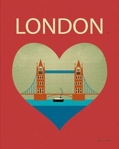 London Bridge and Heart - Travel Poster