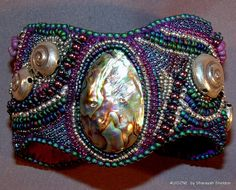 SYMPHONIC SHORES  Bead Embroidered  Cuff Bracelet by 4uidzne, $275.00