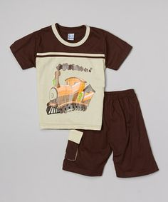 Loving this G&J Relations Khaki Train Tee & Shorts - Infant & Toddler on #zulily! #zulilyfinds