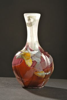 Emile GALLÉ, Nancy, (1846-1904), Blown, Internal Inclusions, Marquetry Inlays and Engraved Glass Vase.