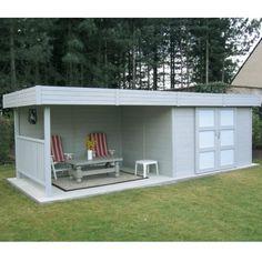Abri de jardin en bois massif 28mm 7,65m² toit plat + terrasse SOLID
