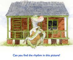 Poor Gator.  Gator needs a bandage on his tail… after trying to whack the third little Cajun piggie's brick house down.  More artistic rhythm in Jim Harris fairytale art.