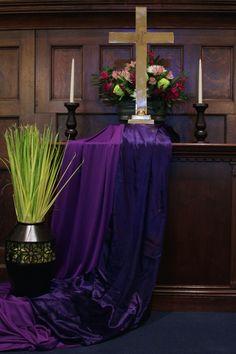 Palm Sunday altar, 2015, by Rev. Sarah Weaver, at Rehoboth Congregational Church
