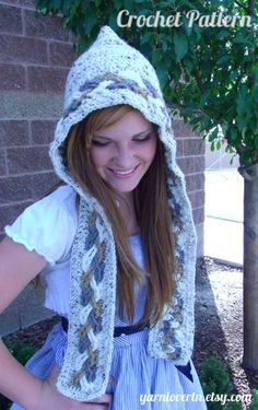ea19d9d0ba6e Crochet PATTERN PDF - Crocheted Scoodie hoodie pattern - Tri color cabled  braid - CAN sell finished