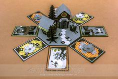 Achteckige Halloween-Explosionsbox. Die beiden Häuschen wurden mit der Home-Sweet-Home-Stanzform von Stampin'Up hergestellt.