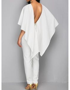Frill Cape Backless White Bodycon Jumpsuit – Technology World Bodycon Jumpsuit, Cape Jumpsuit, White Jumpsuit, Elegant Jumpsuit, White Pants, White Cloak, White Cape, Mode Outfits, Fashion Outfits