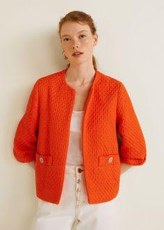 f628ae6dfd0 Tissu tweed Deux poches latérales Col rond Manches trois quarts Veste Tweed  Femme