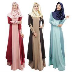 2015 Woman Abaya Turkish Islamic Lace Pathwork Dress Malaysia Indonesia Clothing Muslim Long Sleeve Maxi Fashion Muslimah Dress