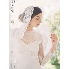 Mantilla French lace bridal blusher veil by EricaElizabethDesign