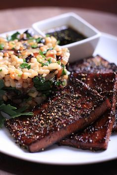 Black Pepper and Thyme Tofu with a side of couscous. Sounds like dinner, no?
