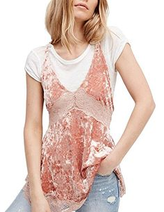 2136920e21 Haoduoyi Womens Sexy Lace Velvet Patchwork V Neck Halter TankXXLPink    You  can find out