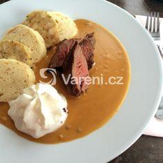 Svíčková od babičky recept - Vareni.cz Mashed Potatoes, Pork, Food And Drink, Meat, Breakfast, Ethnic Recipes, Prague, German, Polish
