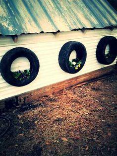 Tire flower art
