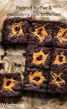 Irresistibly gooey dark chocolate brownies with smooth peanut butter and a dollop of raspberry jam. See the recipe on the Waitrose website.