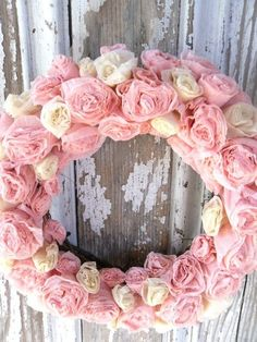 pink crepe flower wreath