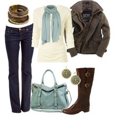 Soft shades of bluish-gray...great outfit for chilly weather.