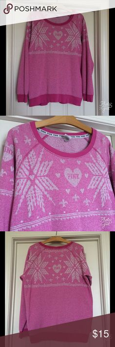 VS Pink Sweatshirt One of my faves! Worn but good condition no holes, stains, etc. Perfect for layering! By VS Pink. Paid almost $100! Size Medium. PINK Victoria's Secret Tops Sweatshirts & Hoodies