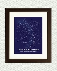 Geek Wedding Gift- Constellations from the Northern Hemisphere. Milky Way is the paler smudge. Stars are beautiful