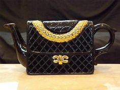 Jim Bailey Black & Gold Handbag Purse Teapot