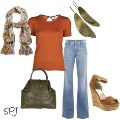 simple perfect autumn colors, love scarf with! Janie by s-p-j on Polyvore featuring Chris Benz, Citizens of Humanity, Lily and Lionel, Michael Kors, wedge shoes, printed scarves and flared jeans