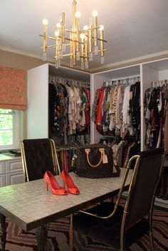 EXACTLY what I would love in a spare bedroom! An office area/walk in closet room! My boy can have a man cave... I want my lady space!
