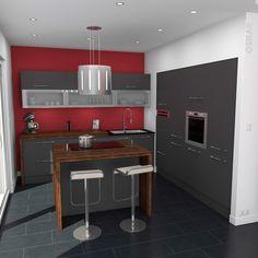 Deco cuisine design et masculine grise anthracite avec îlot central de cuisson et snack, plan de travail en bois vieilli, hotte décorative en inox, meubles hauts vitrés moderne - www.oskab.com