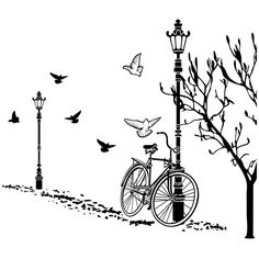 Vinilos Decorativos: Otoño en Bicicleta Simple Wall Paintings, Wall Painting Decor, Wall Art Designs, Paint Designs, Wall Murials, Diy Wall, Wall Stickers, Wall Decals, Stencils