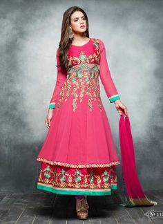 Amazing Pink Embroidery Work Georgette Anarkali Suit