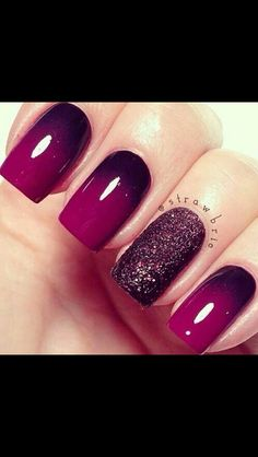 Maroon autumn nails, you nailed it, gorgeous nails, pretty hairstyles, happy nails Purple Ombre Nails, Pink Nails, Purple Sparkle, Bright Purple, Toe Nails, Dark Purple, Purple Nail Designs, Nail Art Designs, Nails Design