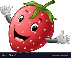 Cute strawberry with face Royalty Free Vector Image Free Vector Images, Vector Free, Vector Stock, Fruit Cartoon, Picture Mix, Cute Strawberry, Emoticon, Adobe Illustrator, Hello Kitty