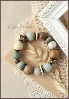 """Купить Браслет """"Апрель"""" - браслет, крупный браслет, браслет с камнями, амазонит, мятный, бирюза"""