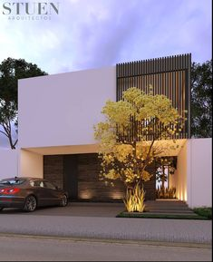 The modern home exterior design is the most popular among new house owners and those who intend to become the owner of a modern house. Architecture Résidentielle, Minimalist Architecture, Contemporary Architecture, Contemporary Design, Architecture Portfolio, Arch House, Facade House, House Front Design, Modern House Design