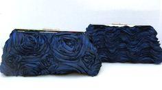 Navy Clutch Handbag in Navy Satin Rosette or Scallop for Bride or Bridesmaids- Formal- Design your own. $53.00, via Etsy.