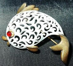 Vintage White Enamel Signed JJ Fish Koi Brooch Pin Cute   eBay 15
