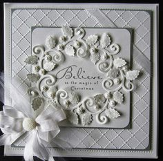 A white on white Christmas card for today courtesy of Heartfelt Creations stamps and dies.  I used my Heart Lattice embossing folder to add a simple embossed background for my card....