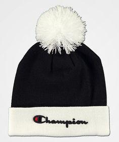 0c67dd93 Champion Script Pom Black & White Beanie