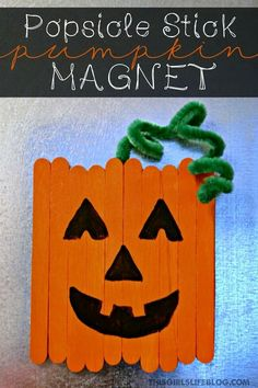popsicle stick pumpkin magnet craft for kids a spookley the square pumpkin halloween craft - Preschool Crafts For Halloween