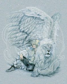 young warrior and his winged lion