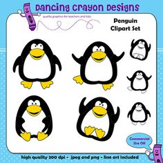 Here are some fun and jolly penguins ready to decorate your classroom or your next project.Contains colored jpeg and png images as well as line art jpeg and png images.High quality, 300 dpi.You may use these images for commercial use, including use in your TeachersPayTeachers products.Credit is required unless you also purchase a no-credit required license for the images.