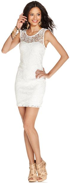As U Wish Juniors' Lace Cutout Bodycon Dress - City Hall bridal attire - city Hall Wedding attire - bridal shower dress ideas Little White Dresses, Nice Dresses, White Fashion, Teen Fashion, Ceremony Dresses, Wedding Dresses, Professional Wardrobe, Trendy Clothes For Women, Junior Dresses