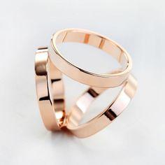 Titanium Steel Trio Scarf Ring Rose Gold #