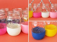 an easy, DIY way to add color to a table. or food bar? (ps it's a mason jar that has a balloon wrapped around the bottom. it's cool cuz you don't have a weird painted mason jar after) Mason Jar Projects, Mason Jar Crafts, Pot Mason, Mason Jars, Adidas Man, Craft Projects, Projects To Try, Craft Ideas, Decor Ideas