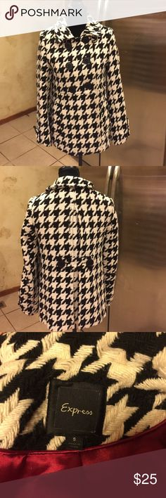 Pea coat Houndstooth jacket from Express size S Black and white houndstooth Express Jackets & Coats Pea Coats