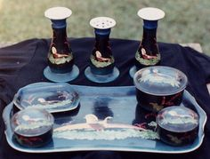 Some of your female Victorian and later era ancestors may have used a set such as this. This dressing table set features hand-painted pheasants and includes 2 x candle holders, large tray, pin tray, 3 x trinket boxes and of course the all important hatpin holder. Some sets also included ring holders and loose hair receptacles where hair that accumulated in the hairbrush was placed.(Private Collection)